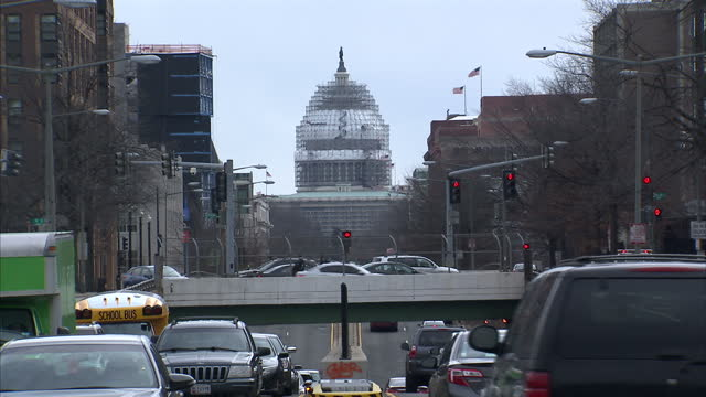 Exterior shots of streets traffic and people walking in a deprived area of Washington DC on February 25 2016 in Washington DC