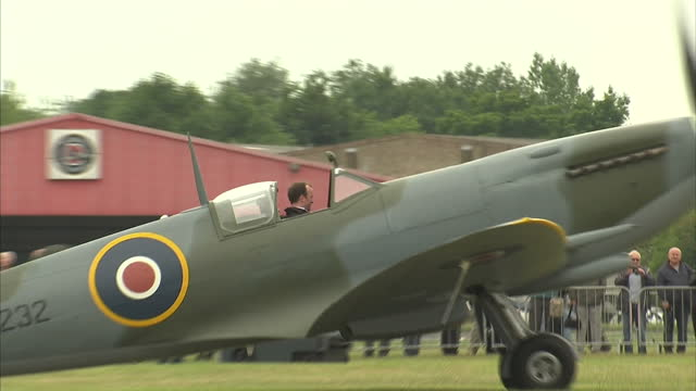 exterior shots of supermarine spitfires & hawker hurricanes taxing on biggin hill airfield on august 18, 2015 in kent, england. - biggin hill stock videos & royalty-free footage