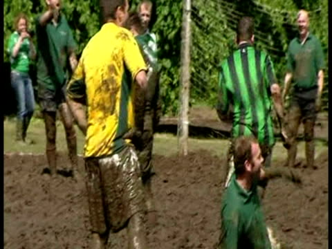 exterior shots of swamp soccer world championships taking place sky news bizarre stories at various locations on june 17, 2007 in dunoon, scotland - championships stock videos & royalty-free footage
