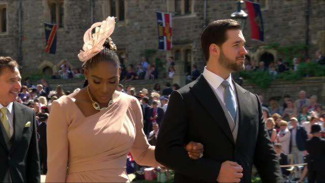 Exterior shots of tennis player Serena Williams with husband Alexis Ohanian arriving at St George's Chapel for the wedding of Prince Harry and Meghan...