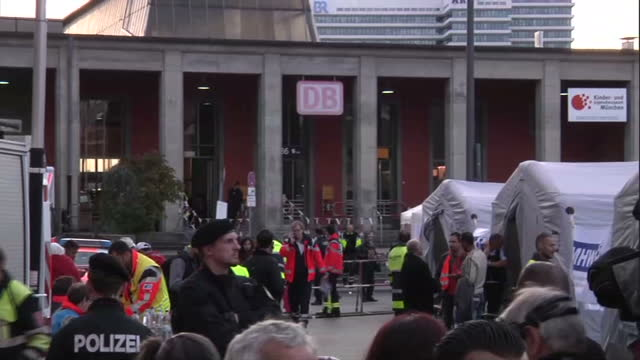 exterior shots of tents set up outside munich station for the expected crowds of refugees on september 06 2015 in munich germany - 2015 stock-videos und b-roll-filmmaterial