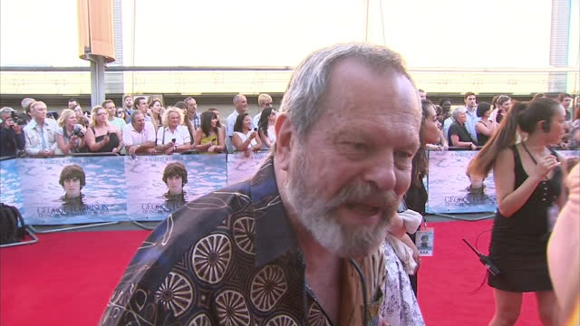 exterior shots of terry gilliam giving an interview on the red carpet at george harrison living in the material world premiere at bfi on october 2... - terry gilliam stock videos & royalty-free footage