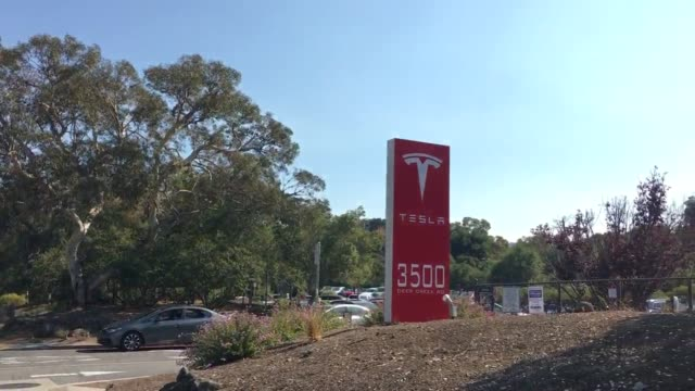 exterior shots of tesla headquarters in palo alto - headquarters stock videos & royalty-free footage