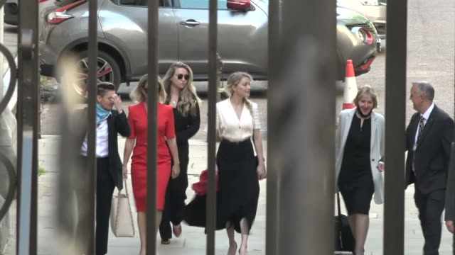 exterior shots of the actress amber heard arriving at the back entrance of the royal courts of justice during the johnny depp libel trial on 20 july... - amber heard stock videos & royalty-free footage