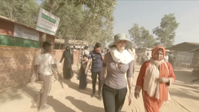 Exterior shots of the actress Ashley Judd meeting Rohingya refugees in a refugee camp on 22 February 2018 in Cox's Bazar Bangladesh