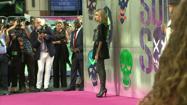 Exterior shots of the actress Cara Delevingne posing on the red carpet at the premiere of Suicide Squad on August 03 2016 in London England