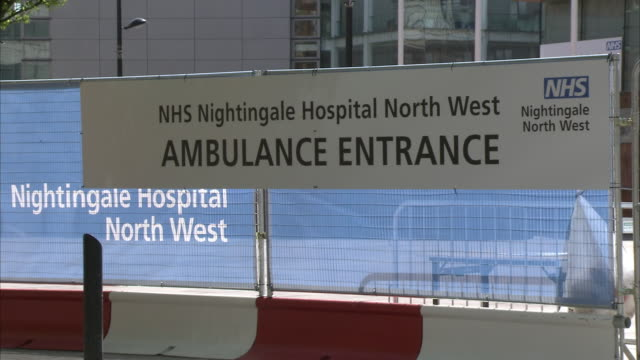 exterior shots of the ambulance entrance to the nhs nightingale hospital north west and general shots signage for the hospital on 13 april 2020 in... - nightingale stock videos & royalty-free footage