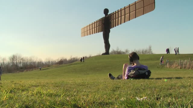 exterior shots of the angel of the north contemporary sculpture designed by antony gormley located in gateshead on 26th february in tyne and wear... - angel of the north stock videos and b-roll footage