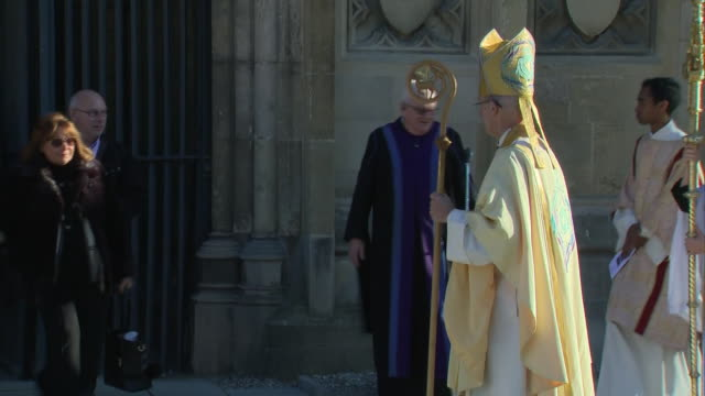 exterior shots of the archbishop of canterbury justin welby leaving after the christmas day sung eucharist at canterbury cathedral on december 25,... - archbishop of canterbury stock videos & royalty-free footage