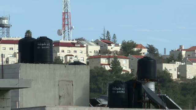 Exterior shots of the Beil El West Bank settlement including heating tanks on a property with Arabic writing on them on February 06 2017 in Jerusalem...