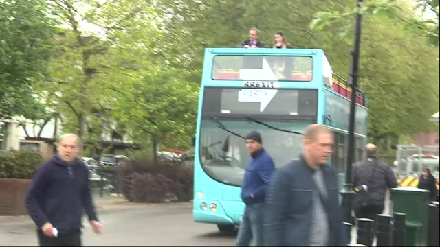 exterior shots of the brexit party battlebus arriving with party founder nigel farage on top to cheering from supporters on 10 may 2019 in lincoln... - founder stock videos and b-roll footage