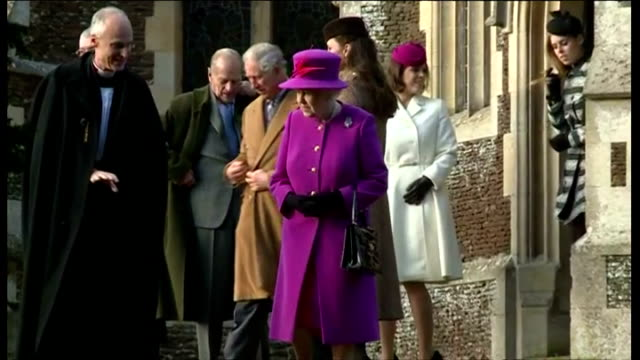 exterior shots of the british royal family including queen elizabeth ii princess anne prince philip prince charles peter philips autumn philips... - lady louise windsor stock videos and b-roll footage