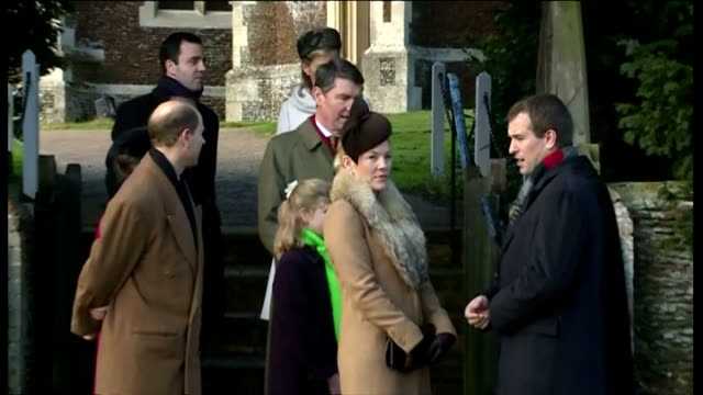 exterior shots of the british royal family leaving sandringham church after christmas service speaking to gathered locals at sandringham on december... - elizabeth i of england stock videos & royalty-free footage