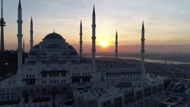Exterior shots of the Camlica Mosque during sunset on March 07 2019 on the Camlica hill of Istanbul The largest mosque of Turkey opened for worship...