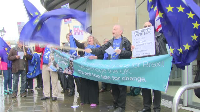 exterior shots of the campaign group 'north east for europe' demonstrating against brexit holdiing union jack eu flags together placards on march 29... - north east england stock videos and b-roll footage