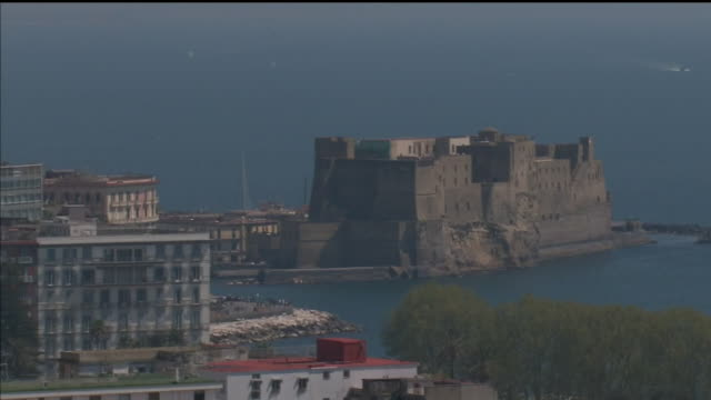 exterior shots of the castel dell' ovo gulf of naples on 18th april 2019 naples italy - mar mediterraneo video stock e b–roll