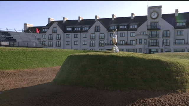 exterior shots of the claret jug trophy shots around carnoustie golf links course the venue for the 2018 open championship shot on april 24 2018 in... - golf links stock videos & royalty-free footage