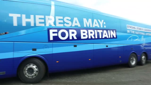Exterior shots of the Conservative Party campaign bus arriving for a campaign event at a farm near Wrexham and members of the media looking on as...