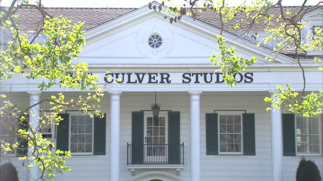exterior shots of the culver studios with white colonial style facade and columns on 13 march 2014 in culver city hollywood california - culver city stock videos & royalty-free footage