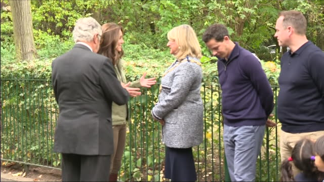 Exterior shots of the Duchess of Cambridge arrriving at Sayers Common Forest School and speaking to parents and staff outside on 2 October 2018 in...