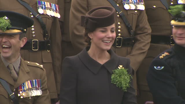 Exterior shots of the Duchess of Cambridge posing with members of the 1st Battalion Irish Guards including Domhnall the Irish Wolfhound Regimental...