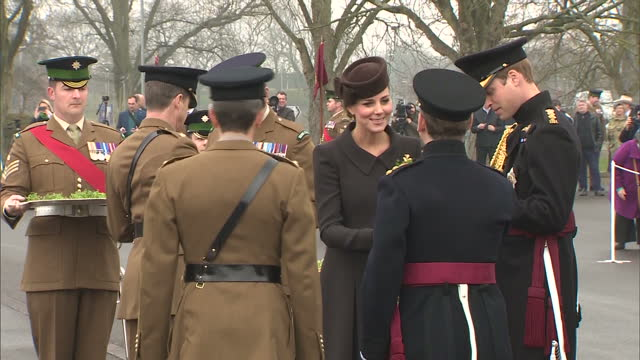 exterior shots of the duchess of cambridge presenting st patrick's day shamrocks to the duke of cambridge and officers from the first battalion of... - aldershot stock videos & royalty-free footage