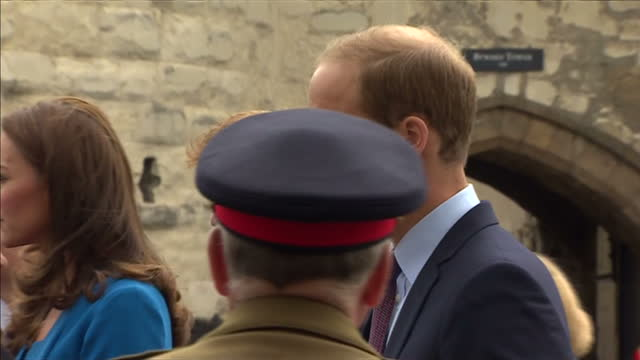 exterior shots of the duke and duchess of cambridge and prince harry talking to yeomen of the guard outside the tower of london entrance. - peerage title stock videos & royalty-free footage