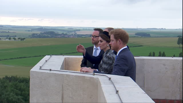 Exterior shots of the Duke and Duchess of Cambridge and Prince Harry receiving a historical briefing on the Battle of the Somme on top of the...