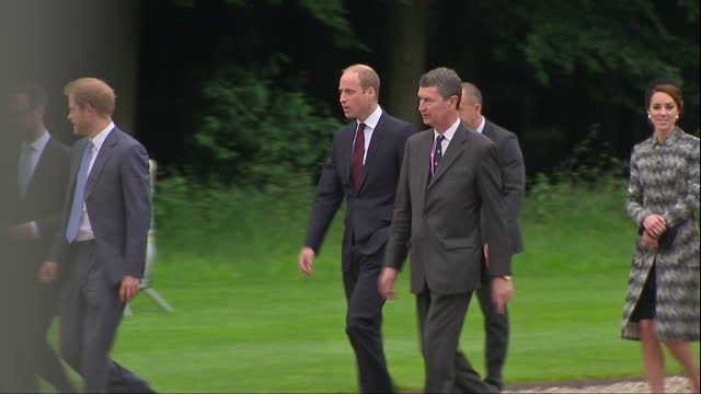 Exterior shots of the Duke and Duchess of Cambridge and Prince Harry arriving at the Thiepval Monument and being greeted by officials>> on June 30...