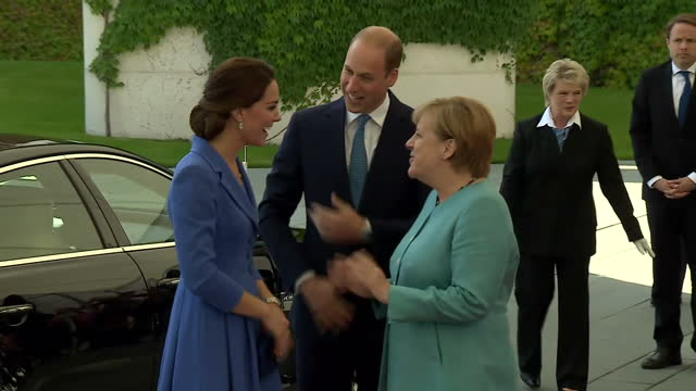 Exterior shots of the Duke and Duchess of Cambridge arriving at the German Chancellery and being greeted by Chancellor Angela Merkel on July 19 2017...