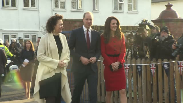 Exterior shots of the Duke and Duchess of Cambridge arriving at Mitchell Brook Primary School and being greeted by members of staff and pupils>> on...