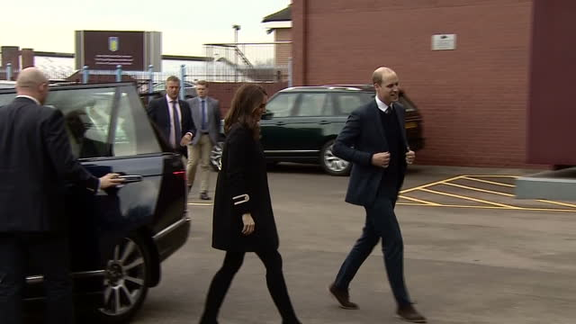 Exterior shots of the Duke and Duchess of Cambridge arriving at Villa Park and being greeted by local officials and Aston Villa owner Tony Xia on...