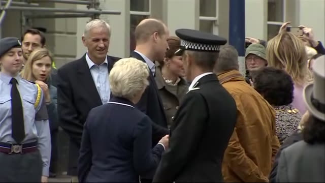 Exterior shots of the Duke and Duchess of Cambridge arriving on foot and talking to local officials in Keswick on 11th June 2019 United Kingdom