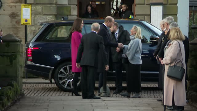 Exterior shots of the Duke and Duchess of Cambridge arriving to visit Coventry and being greeted by local officials and crowds of wellwishers on...