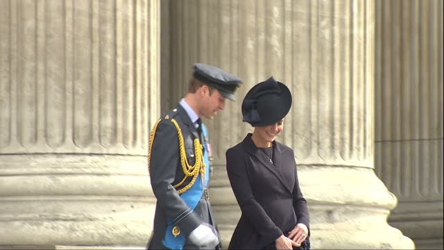 Exterior shots of the Duke and Duchess of Cambridge departing after attending a memorial service to honour members of the British armed forces who...