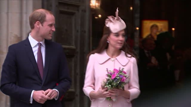 Exterior shots of the Duke and Duchess of Cambridge departing from Westminster Abbey after attending a Commonwealth Day service Catherine Duchess of...