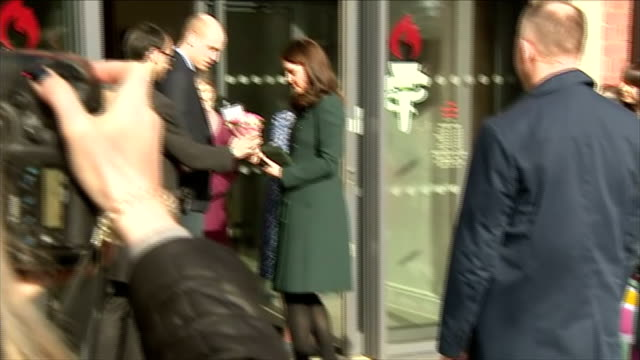 Exterior shots of the Duke and Duchess of Cambridge greeting officials and members of the public outside the Fire Station in Sunderland>> on February...