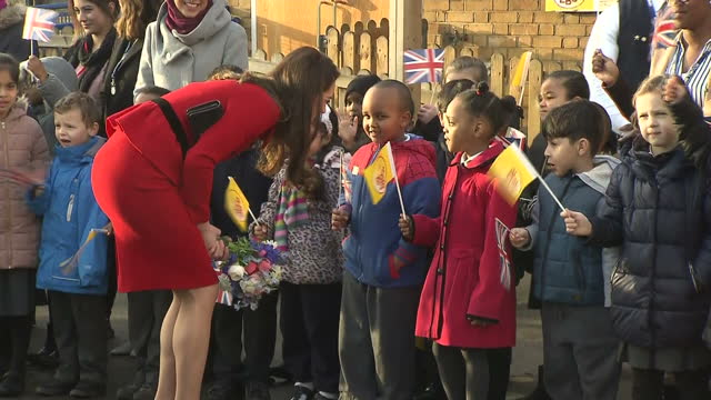 Exterior shots of the Duke and Duchess of Cambridge meeting pupils and parents at Mitchell Brook Primary School>> on February 06 2017 in London...