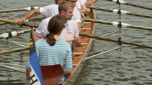 Exterior shots of the Duke and Duchess of Cambridge preparing to take part in a boat race on the River Neckar during their visit to Heidelberg with...