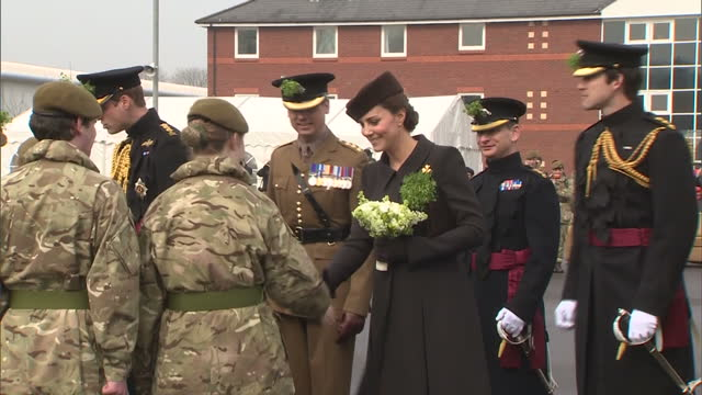 exterior shots of the duke and duchess of cambridge speaking to army cadets during st patrick's day celebrations at mons barracks.>> on march 17,... - aldershot stock videos & royalty-free footage