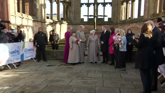 Exterior shots of the Duke and Duchess of Cambridge speaking with members of the clergy and looking at the ruins of Coventry Cathedral on January 16...