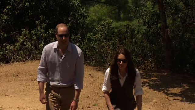 Exterior shots of the Duke and Duchess of Cambridge walking on a visit to the Taktsang Monastery and inspecting a pagoda on April 15 2016 in Thimphu...
