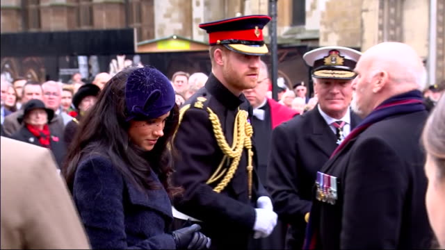 exterior shots of the duke and duchess of sussex speaking to war veterans at the field of remembrance at westminster abbey on 7 november 2019 in... - britisches königshaus stock-videos und b-roll-filmmaterial