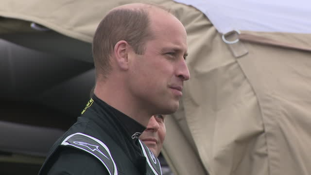 exterior shots of the duke of cambridge chatting with extreme e team members at knockhill racing circuit on 22nd may 2021 - sports utility vehicle stock videos & royalty-free footage