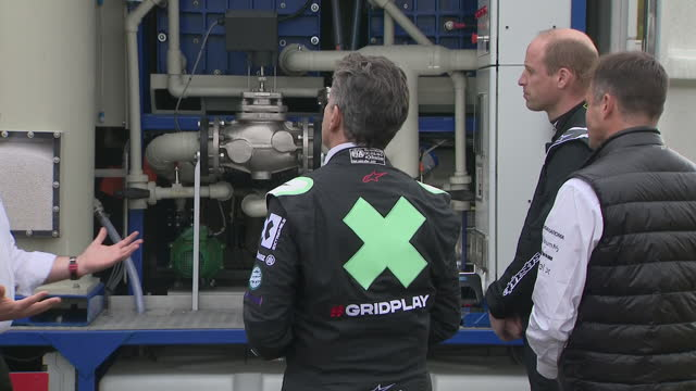 exterior shots of the duke of cambridge test driving the extreme e odyssey 21 electric vehicle at knockhill racing circuit on 22nd may 2021 - sports utility vehicle stock videos & royalty-free footage