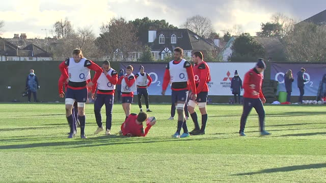 exterior shots of the england rugby squad at training. - sports training stock videos & royalty-free footage