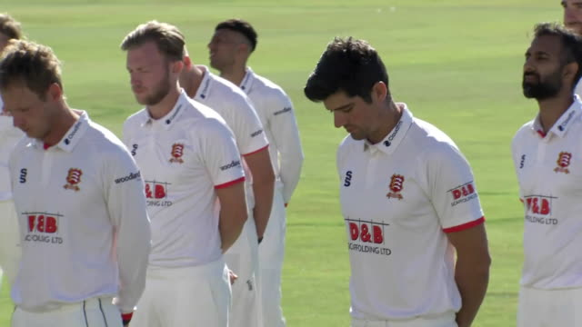 exterior shots of the essex county cricket team having their team pictures with the bob willis trophy. this footage was taken at the the cloudfm... - squadra di cricket video stock e b–roll