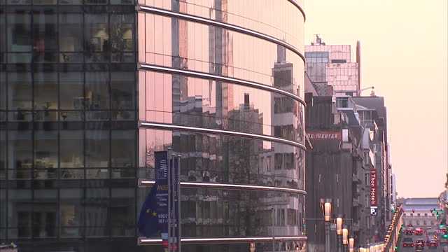 Exterior shots of the Europa Building the new headquarters of the EU with traffic passing on busy road on December 15 2016 in Brussels Belgium