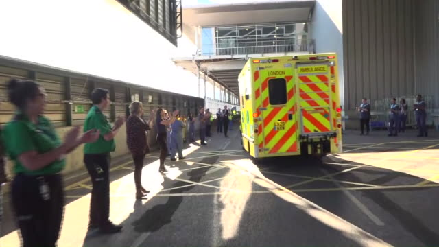 exterior shots of the first patient to be discharged from the icu ward the london nightingale hospital on 20th april 2020 in london, united kingdom. - nightingale stock videos & royalty-free footage