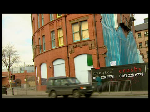 exterior shots of the hacienda nightclub with adjacent building demolished sky news nightclub footage at hacienda on march 03 2001 in manchester... - manchester england stock videos and b-roll footage